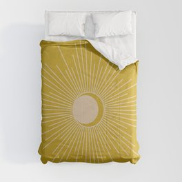 Subtle Sun and Moon - Mid Century Modern Minimalism in Mid Mod Mustard and Beige Comforters