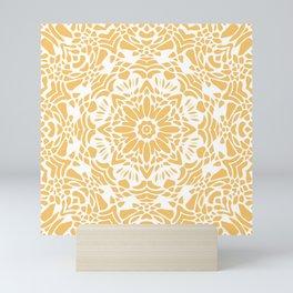 Sunny Golden Yellow and White Lace Mandala Mini Art Print