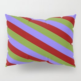 Medium Slate Blue, Dark Red, and Green Colored Pattern of Stripes Pillow Sham