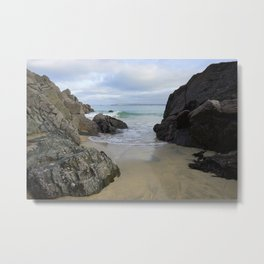 Turquoise Waves Crashing on Porthmeor Rocks Metal Print