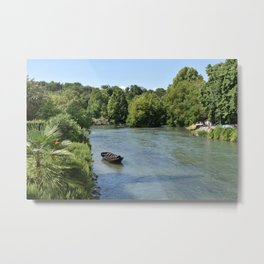 Peaceful river view with boat Metal Print