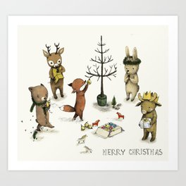 Christmas Animals poster - Merry Christmas art -holidays print - Nursery art - Nursery decor - Kids  Art Print