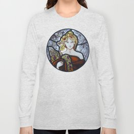 Stained Glass Art Nouveau Roundel Long Sleeve T-shirt