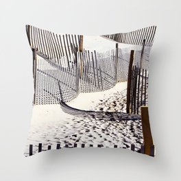 Beach Fences and Shadows Throw Pillow