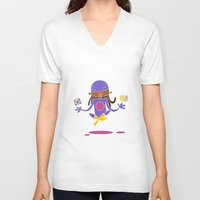 super hero V-neck T-shirts featuring Super Hero 3 by La Lanterne