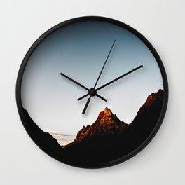 Mid Century Modern Round Circle Photo Sharp Mountain Silhouette Sunrise Wall Clock