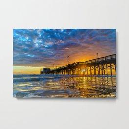 Low Angle Sunset at Newport Pier. Metal Print