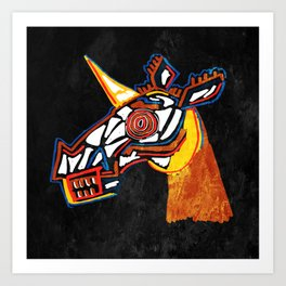 Basquiat Skull Unicorn Art Print