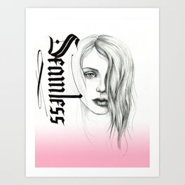 Seamless  - pencil portrait with pink ombre Art Print