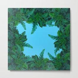 GREEN & BABY BLUE  FERN LEAVES ART Metal Print