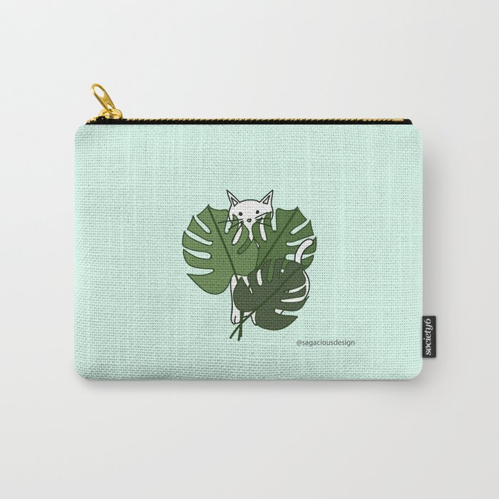 Cat hidden in the palm leaves Carry-All Pouch