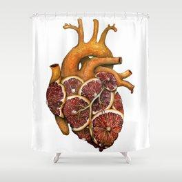 Blood Orange Heart Shower Curtain