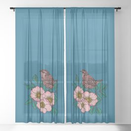 Wren and dog rose bouquet Sheer Curtain
