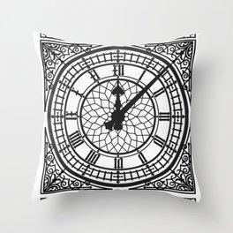 Big Ben, Clock Face, Intricate Vintage Timepiece Watch Throw Pillow