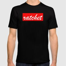 ratchet | Typography MEDIUM Mens Fitted Tee Black