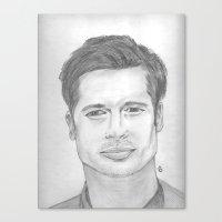 brad pitt Canvas Prints featuring Brad Pitt by Feroz Bukht