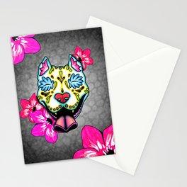 Slobbering Pit Bull - Day of the Dead Sugar Skull Pitbull Stationery Cards