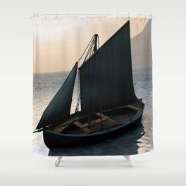 Fishing Sailboat at Dawn by Marijan Zubak Shower Curtain