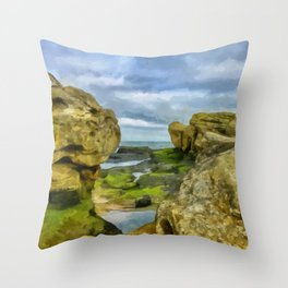 Beautiful rock formations by erosion on the coast of St. Andrews in Scotland Throw Pillow