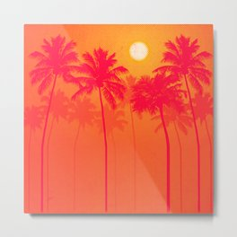 Palm Trees - Pink, Orange, Yellow, Halftone Metal Print