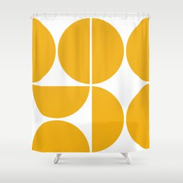 Mid Century Modern Yellow Square Shower Curtain