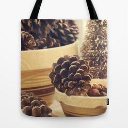 pinecones in yellow ware Tote Bag