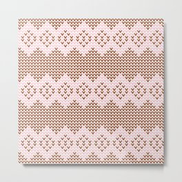 Brown and Pink Knit Metal Print