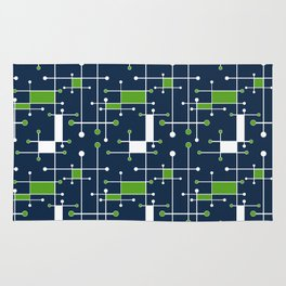 Intersecting Lines in Navy, Lime and White Rug