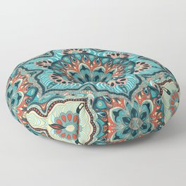 Colorful abstract ethnic floral mandala pattern design Floor Pillow