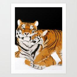 Tiger cub and mom (cheek-bump) Art Print