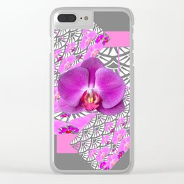 GREY & CERISE PINK ORCHID FLOWERS  WHITE PATTERN Clear iPhone Case