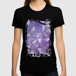 Purple Lilac Glamour Shiny Shimmering Patchwork T-shirt