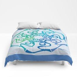Hope Flower Mandala - Blue Green Turquoise Framed Comforters