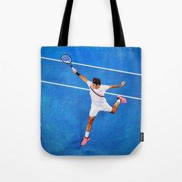 Flying Federer Tennis Backhand Tote Bag