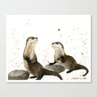 otters Canvas Prints featuring Otters by Priscilla George