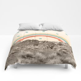 Canyon Desert Rainbow // Sierra Nevada Cactus Mountain Range Whimsical Painted Happy Stars Comforters