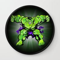hulk Wall Clocks featuring Hulk by Liam Sweeney