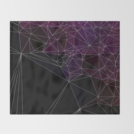 Polygonal purple, black and white Throw Blanket