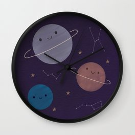 Kawaii Outer Space Wall Clock