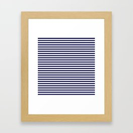 Navy Blue & White Maritime Small Stripes - Mix & Match with Simplicity of Life Framed Art Print