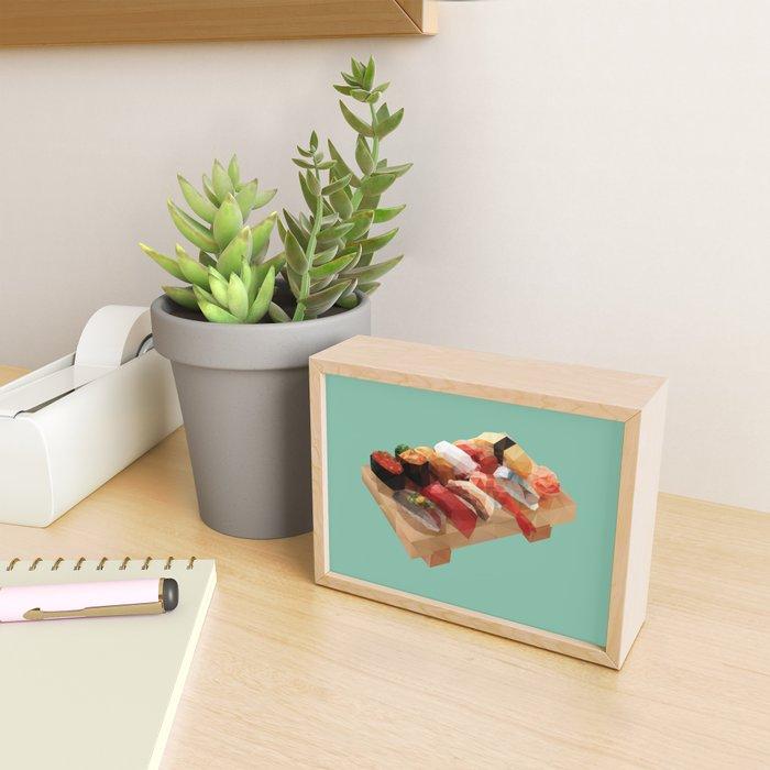 Nigiri Sushi Platter Polygon Art Framed Mini Art Print