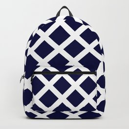 Dark Navy Blue and White Grill Pattern Backpack