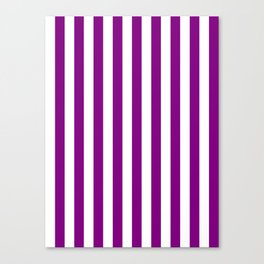 Narrow Vertical Stripes - White and Purple Violet Canvas Print
