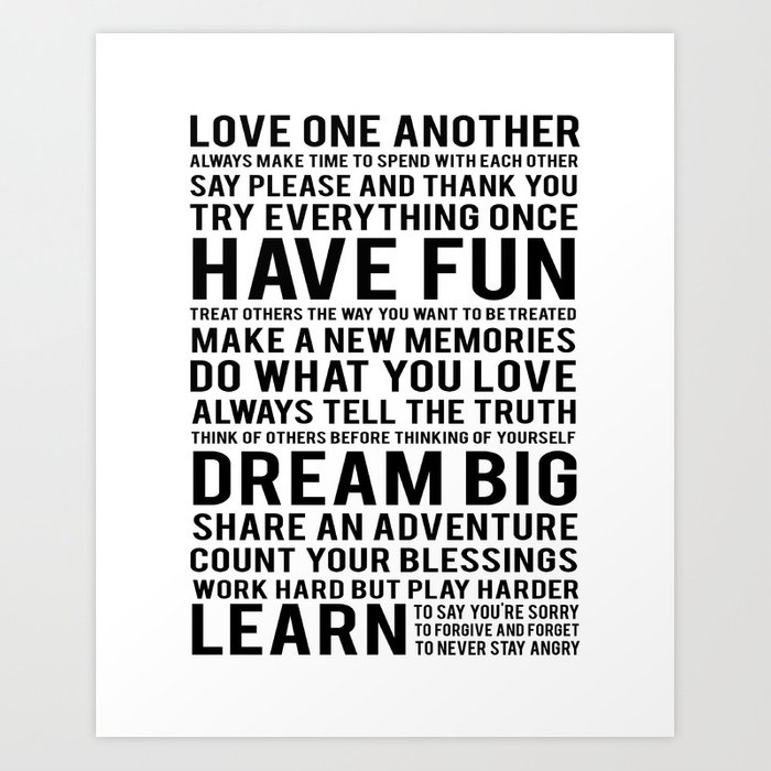 inspirational quote family rules subway stlye family typography