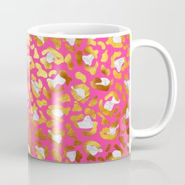 Cute and Dreamy Leopard Golden Spots Pink Print Coffee Mug