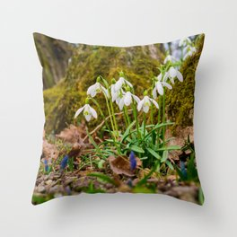 Snowdrops in march Throw Pillow