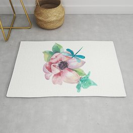 Butterfly and Dragonfly with Flowers Rug