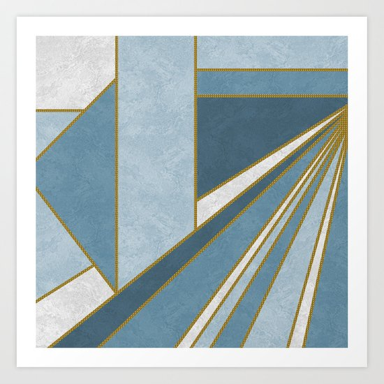 Travel to nowhere in blue (abstract geometric marble) Art Print