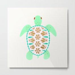 Sea turtle green pink and metallic accents Metal Print