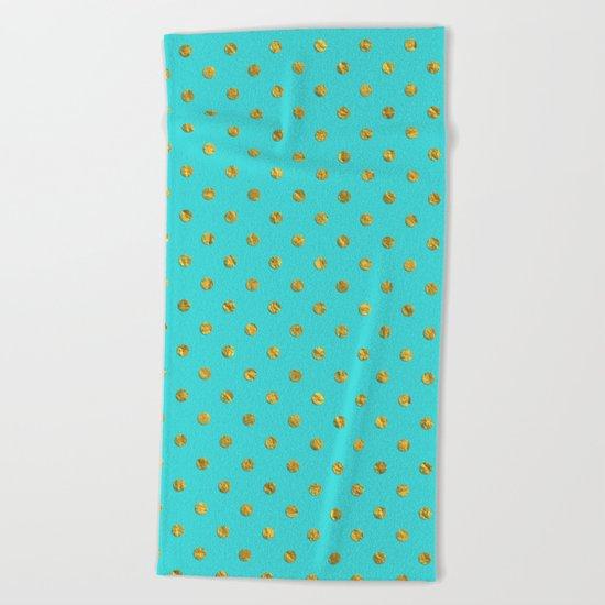 Gold glitter polka dots on turquoise backround pattern Beach Towel